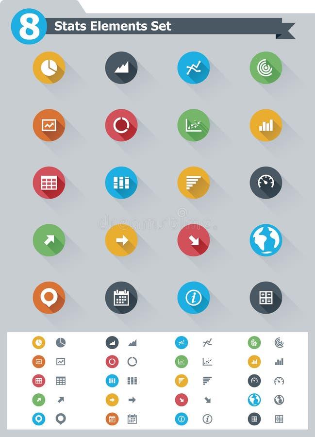 Płaski statystyczny element ikony set royalty ilustracja