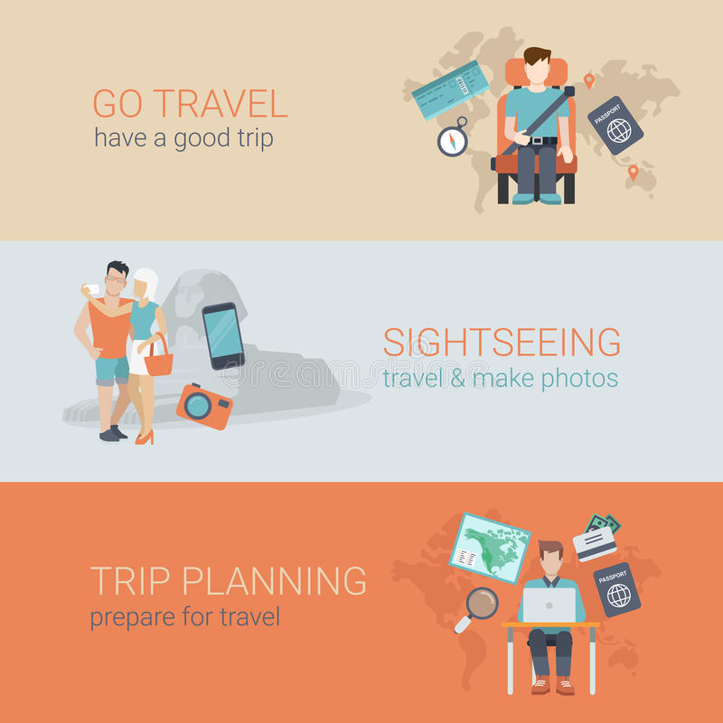 Płaski strona internetowa suwaka sztandaru podróży zwiedzającej wycieczki planowanie royalty ilustracja