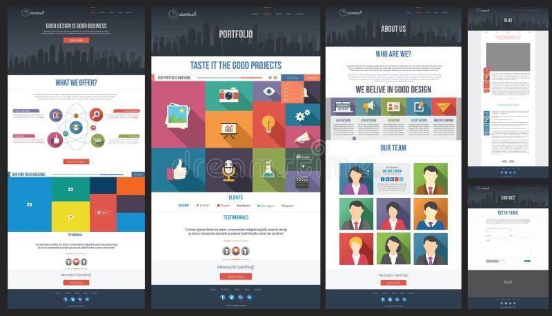 Płaski strona internetowa szablon portfolio - Abo - Homepage - royalty ilustracja