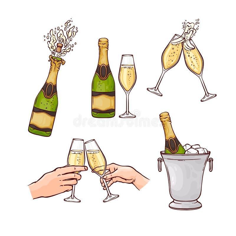 Płaski szampański pluśnięcie strzela korkowych wesoło boże narodzenia royalty ilustracja