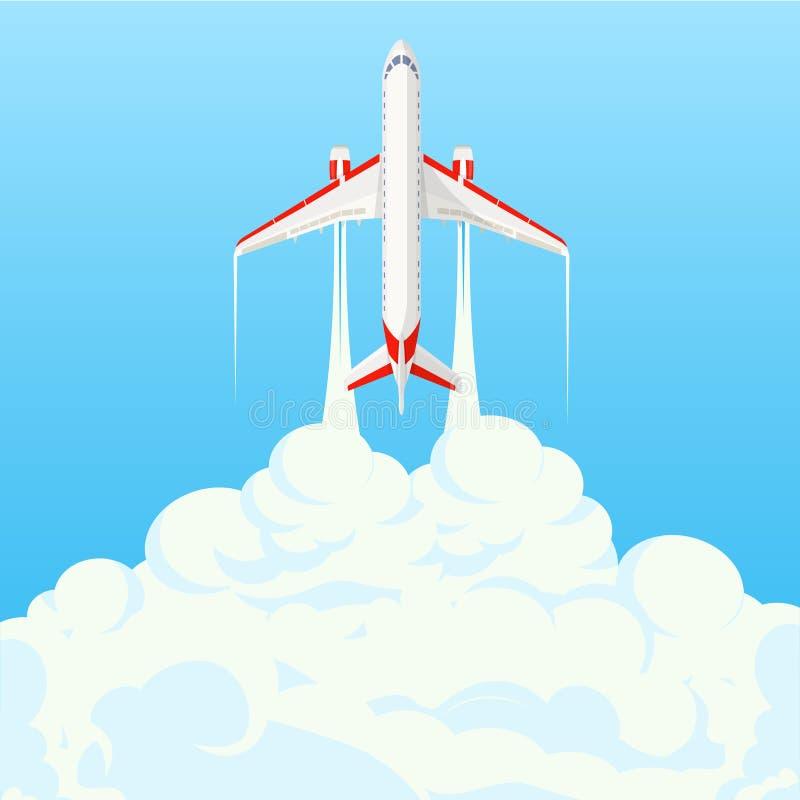 Płaski sztandar na temacie podróż samolotem, wakacje, przygoda Intymne linie lotnicze, transport Latający samolot royalty ilustracja