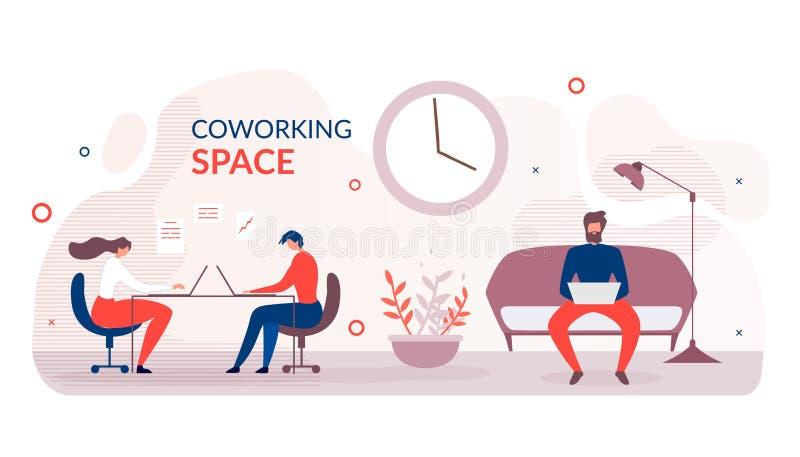 Płaski sztandar Reklamuje Nowożytną Coworking przestrzeń ilustracji