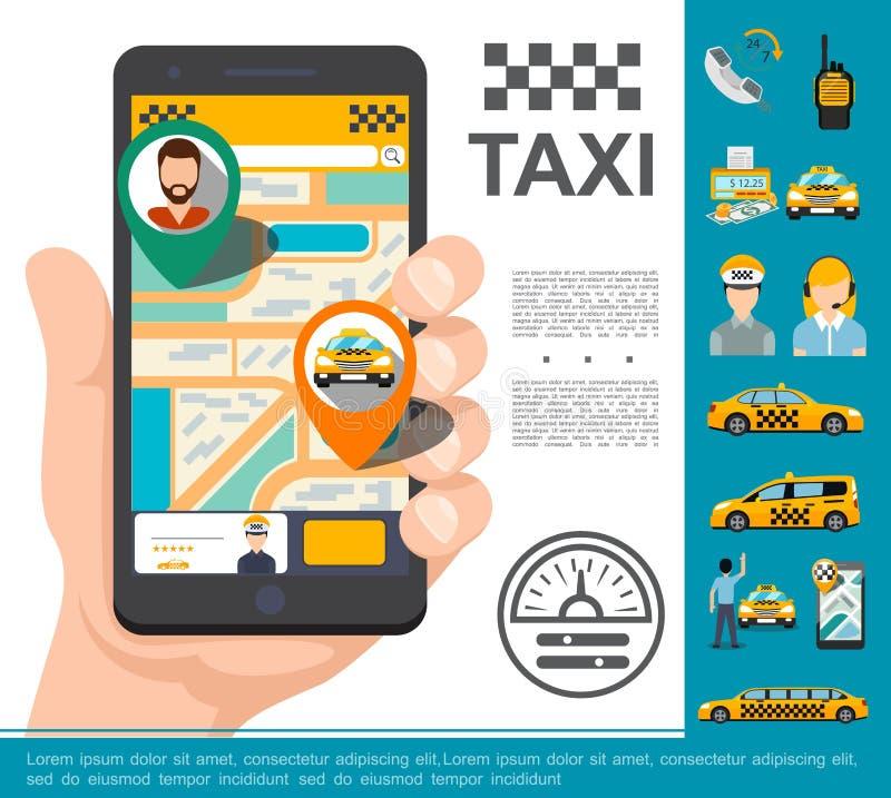 Płaski taxi Online usługi pojęcie ilustracja wektor
