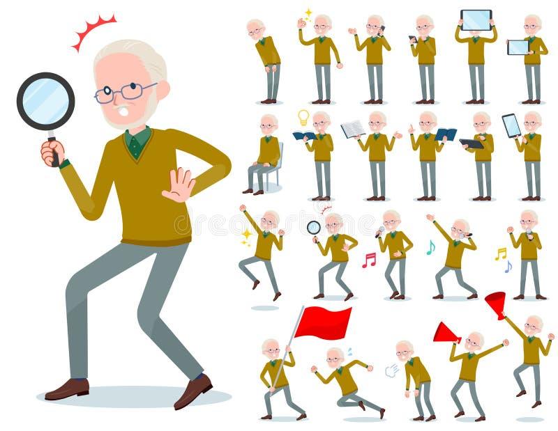 Płaski typ Żółty dzianina stary człowiek White_Action royalty ilustracja