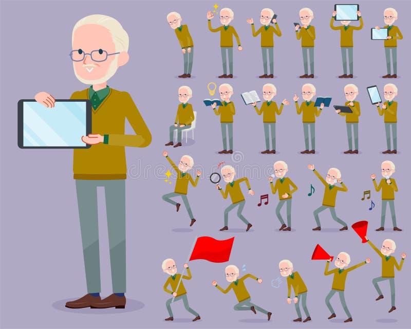 Płaski typ Żółty Ocher dzianina stary człowiek White_2 ilustracja wektor