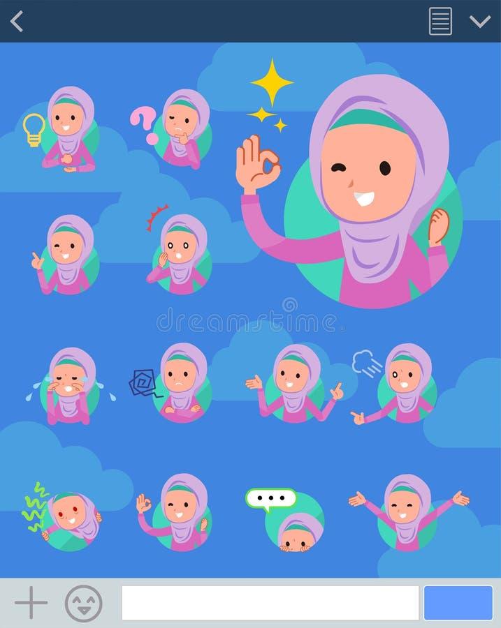 Płaski typ arabów girl_sns royalty ilustracja