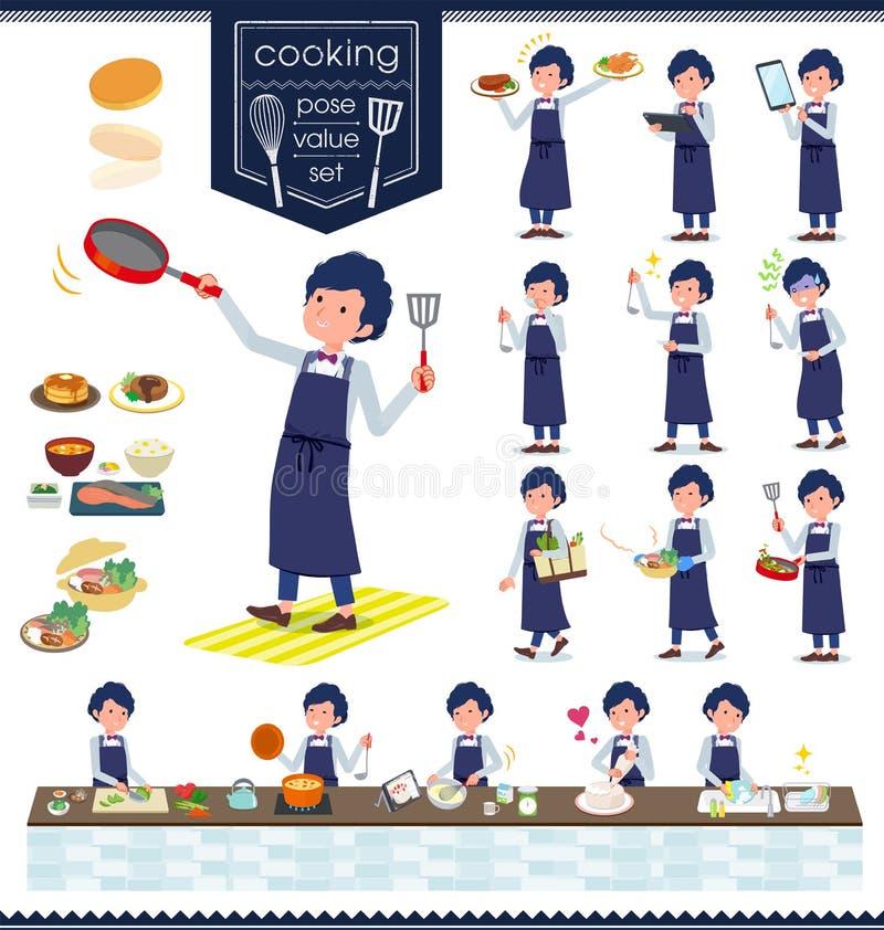 Płaski typ błękitny przypadkowy smoking men_cooking ilustracja wektor