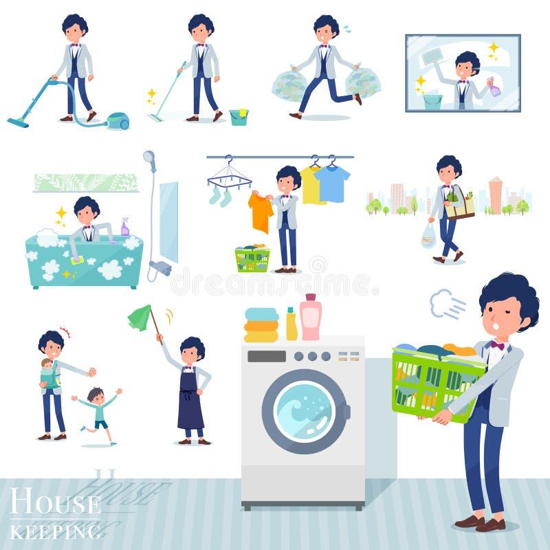 Płaski typ błękitny przypadkowy smoking men_housekeeping ilustracji