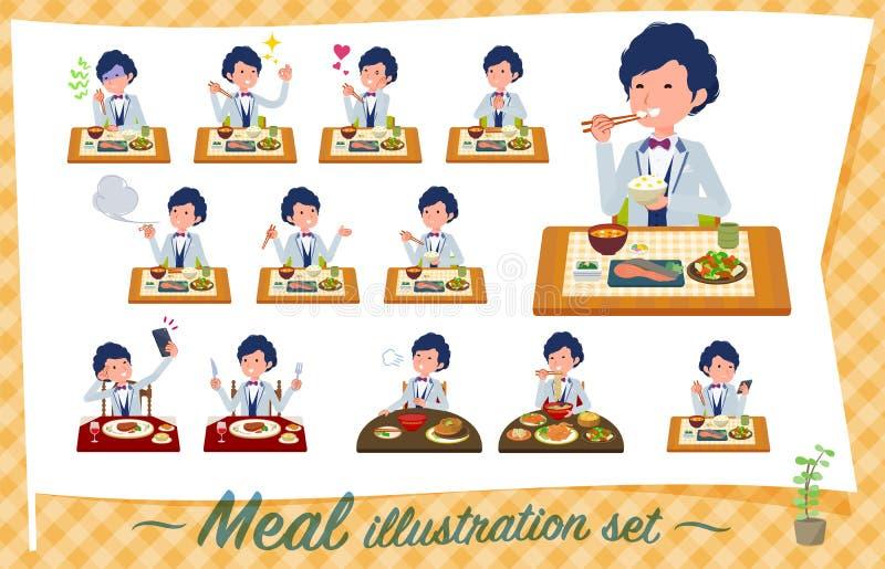 Płaski typ błękitny przypadkowy smoking men_Meal royalty ilustracja