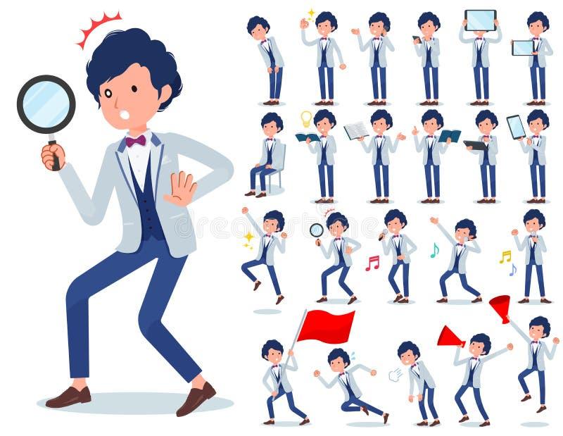 Płaski typ błękitny przypadkowy smokingu men_Action ilustracji