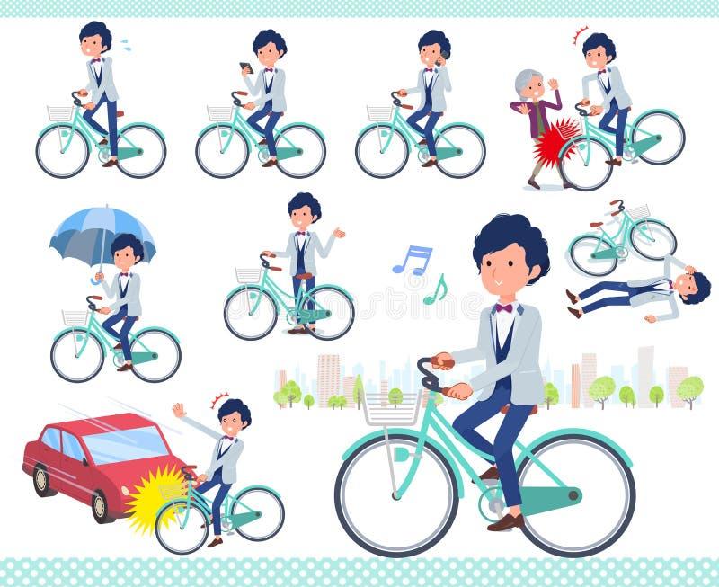 Płaski typ błękitny przypadkowy smokingu men_city cykl ilustracji