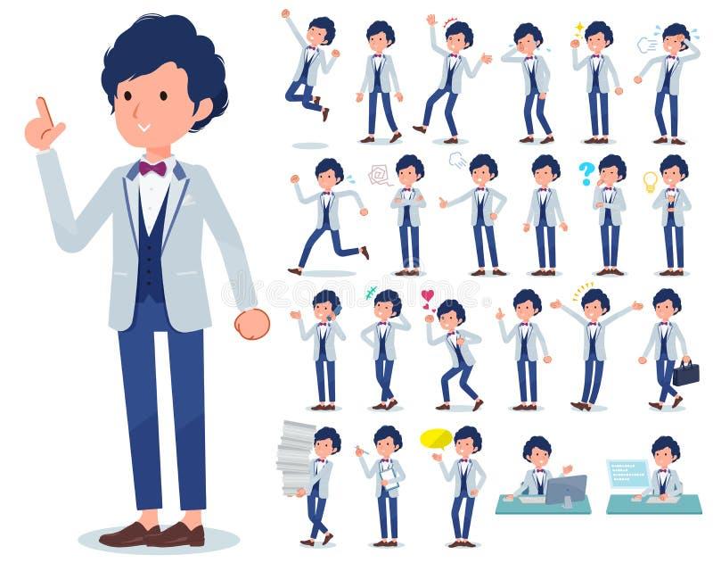 Płaski typ błękitny przypadkowy smokingu men_emotion ilustracja wektor