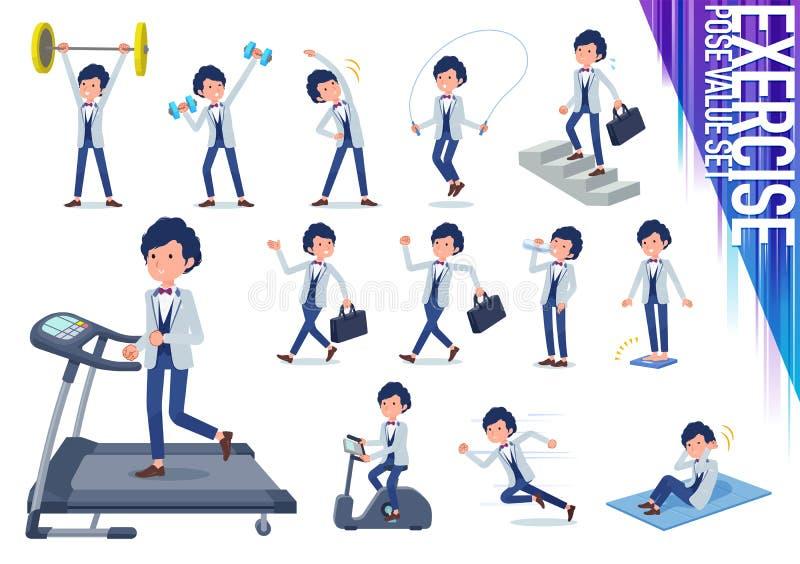Płaski typ błękitny przypadkowy smokingu men_exercise ilustracji