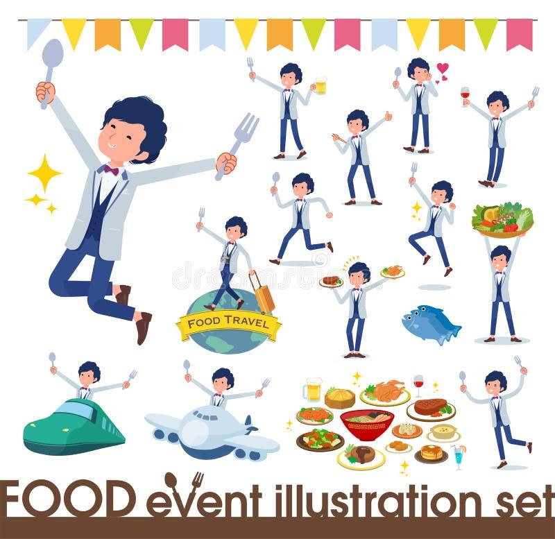 Płaski typ błękitny przypadkowy smokingu men_food festiwal royalty ilustracja