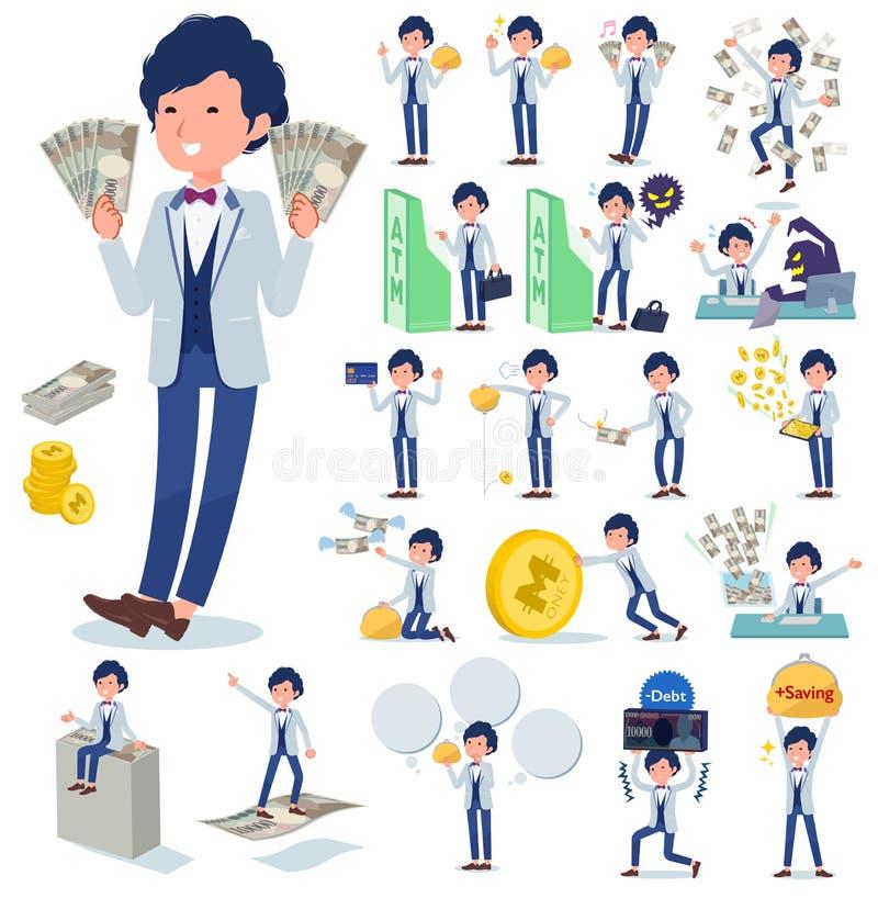 Płaski typ błękitny przypadkowy smokingu men_money ilustracja wektor