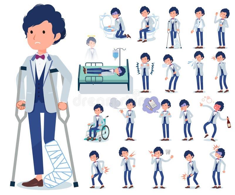 Płaski typ błękitny przypadkowy smokingu men_sickness ilustracji