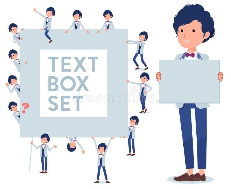 Płaski typ błękitny przypadkowy smokingu men_text pudełko ilustracja wektor