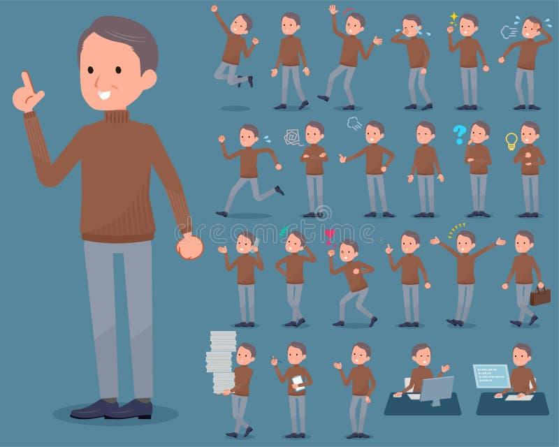 Płaski typ Brown szyi wysoki środek men_1 ilustracja wektor