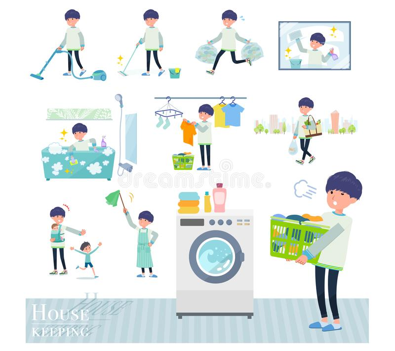 Płaski typ chuderlawi spodnia man_housekeeping ilustracji
