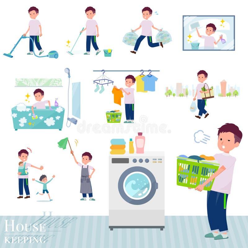 P?aski typ du?a koszulka man_housekeeping ilustracja wektor