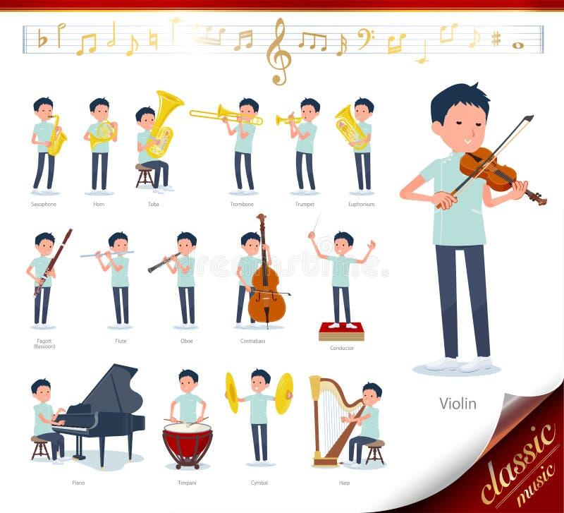 Płaski typ kręgarz men_classic muzyka ilustracja wektor
