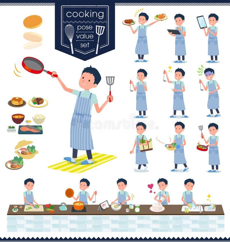 Płaski typ kręgarz men_cooking ilustracji