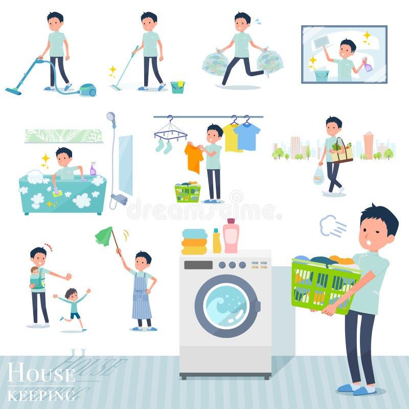 Płaski typ kręgarz men_housekeeping ilustracja wektor