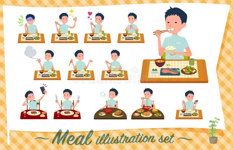 Płaski typ kręgarz men_Meal royalty ilustracja