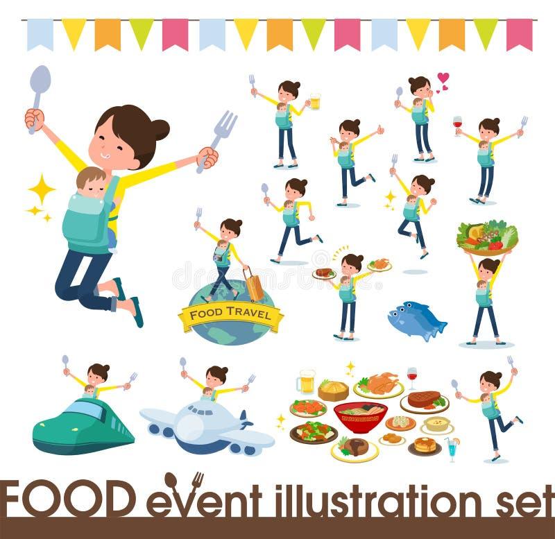 Płaski typ matka i baby_food festiwal ilustracji