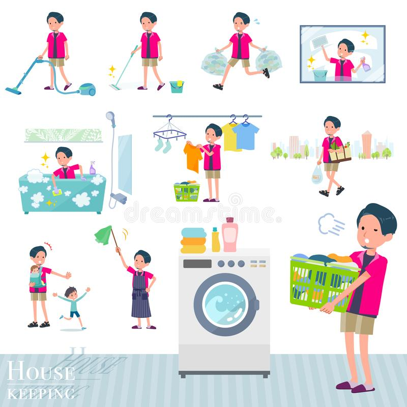 Płaski typ menchii koszulowy man_housekeeping ilustracji