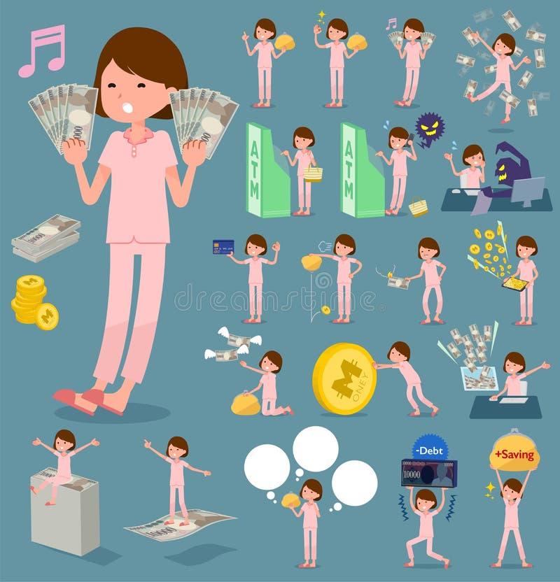 Płaski typ pacjenta woman_money royalty ilustracja