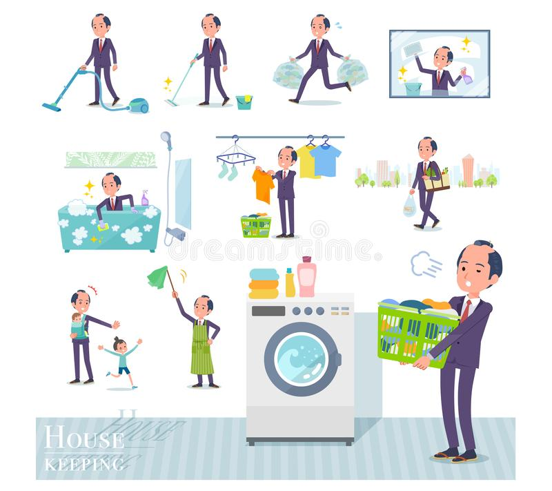 Płaski typ samuraj Businessman_housekeeping ilustracja wektor