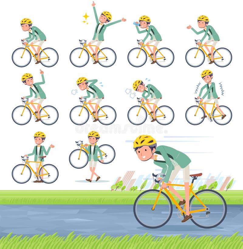 Płaski typ zieleń smokingu men_road przypadkowy rower royalty ilustracja