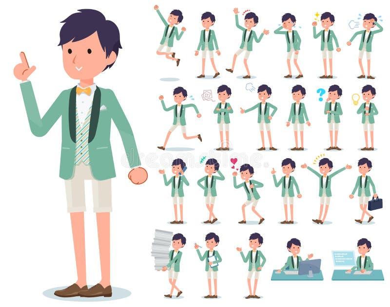 Płaski typ zieleń smokingu przypadkowy men_emotion ilustracja wektor