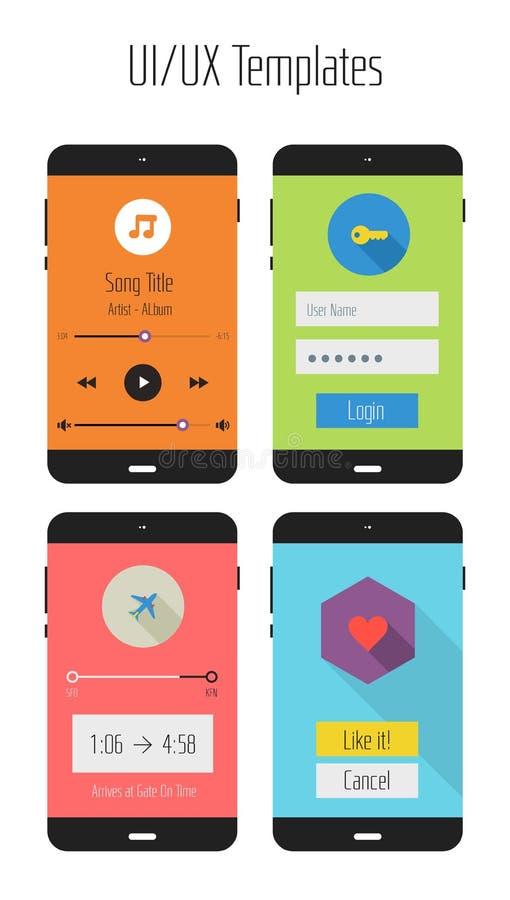 Płaski Ui lub UX apps mobilny zestaw royalty ilustracja