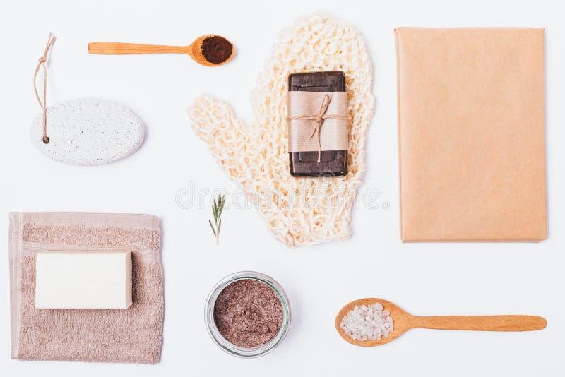 Płaski układ produkty i akcesoria fotografia stock