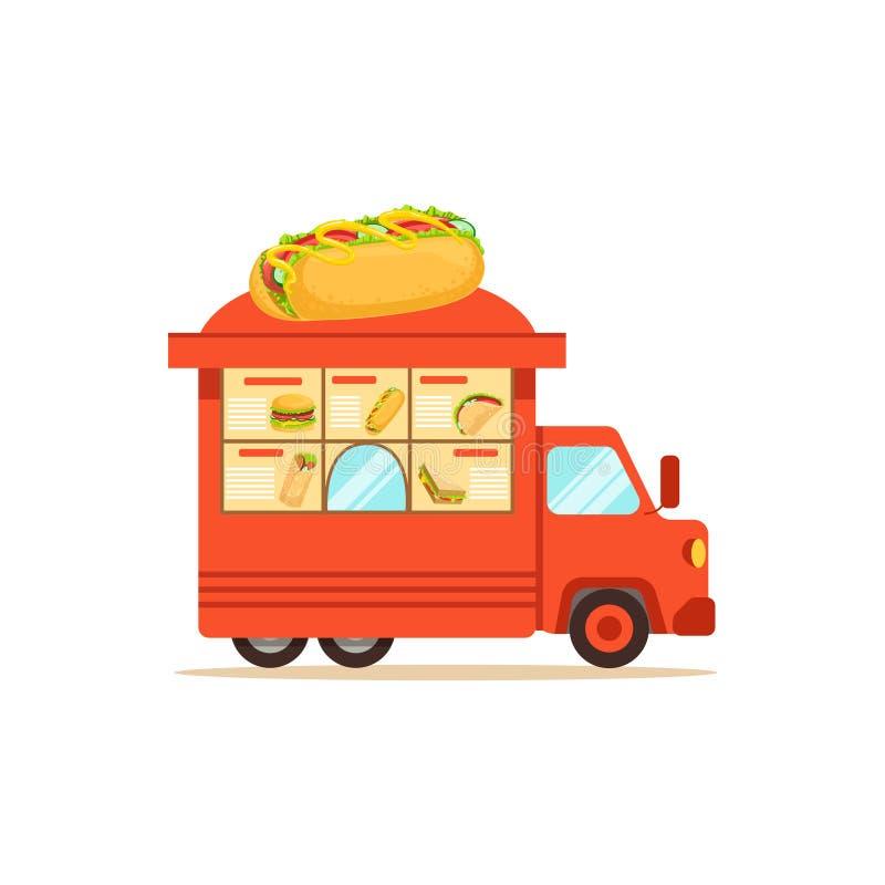 Płaski uliczny karmowy samochód dostawczy z fastem food ilustracji