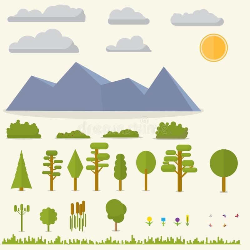 Płaski ustawiający krajobrazowi elementy ilustracji