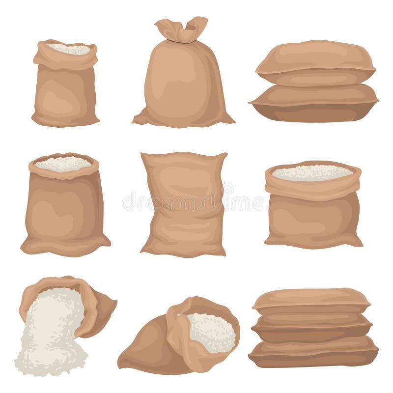Płaski vectoe ustawiający burlap grabije z ryż lub mąką Wielkie tkanin torby Produkt rolny Elementy dla promo plakata ilustracja wektor