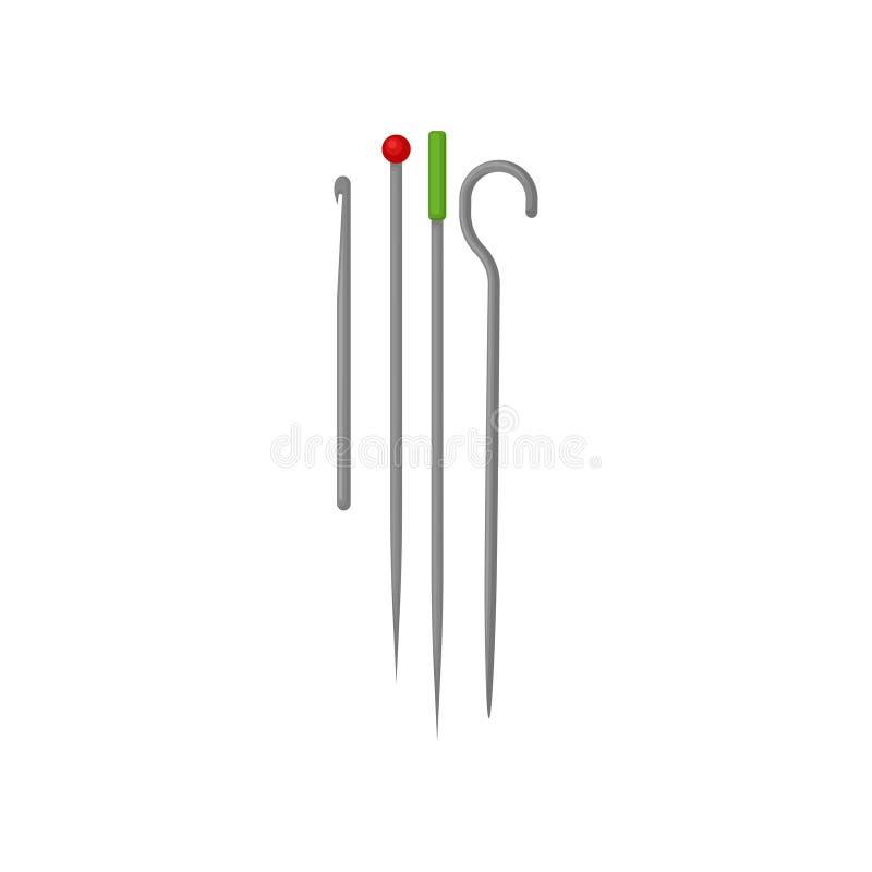 Płaski vectoe ustawiający różnorodne dziewiarskie igły i metalu szydełkowy haczyk Narzędzia dla rękodzieła ilustracja wektor