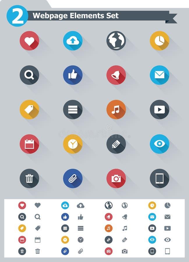 Płaski webpage elementów ikony set royalty ilustracja