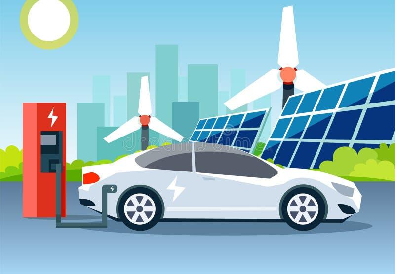Płaski wektor biały elektryczny samochód ładuje przy stacją przed silnikami wiatrowymi i panel słoneczny royalty ilustracja