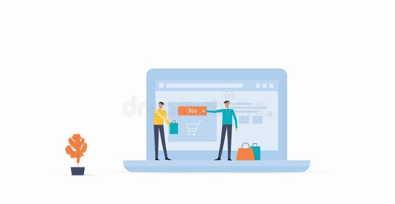 Płaski wektor dla biznesowego online zakupy ilustracji