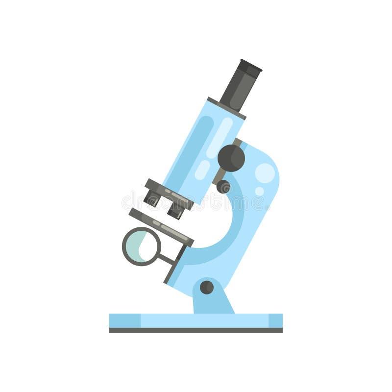 Płaski wektor okulistyczny laborancki mikroskop w mieszkanie stylu Fachowy naukowego lub medycznego lab wyposażenie dla ilustracji