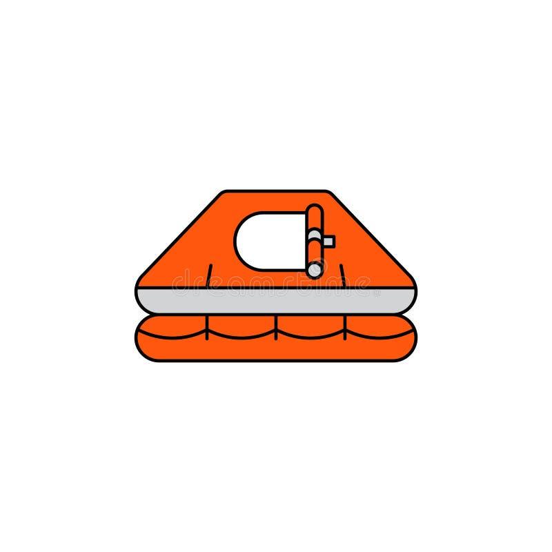 Płaski wektorowy ikony Liferaft ilustracja wektor