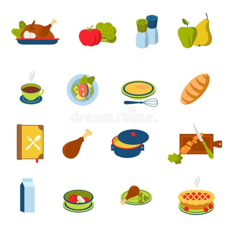 Płaski wektorowy jedzenie, napój, posiłek infographic ikona: restauracyjny menu royalty ilustracja