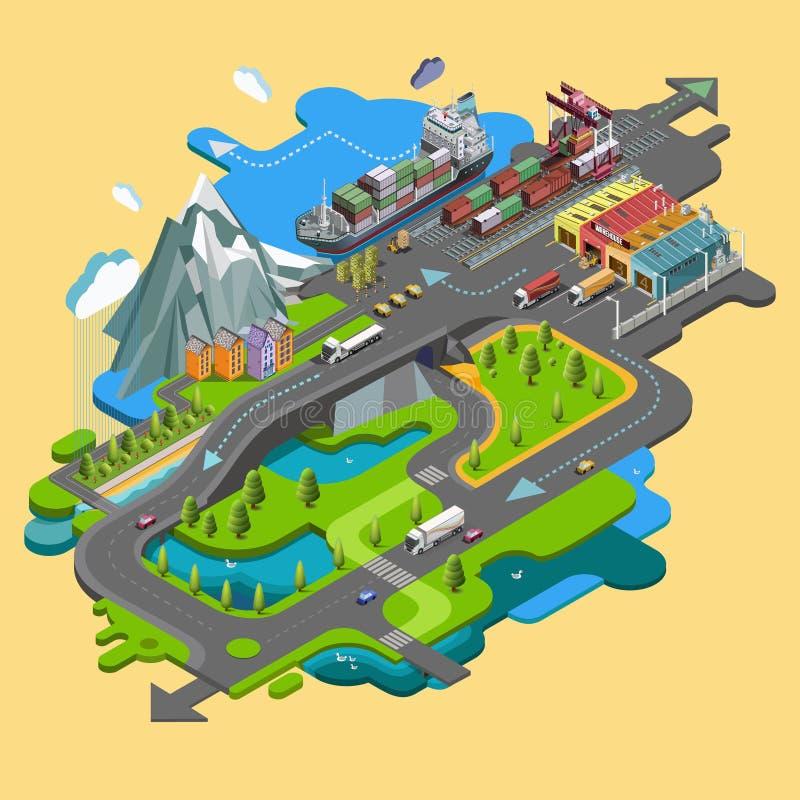 Płaski wektorowy mapa krajobraz; parki; budynki; miejsca siedzące teren; royalty ilustracja