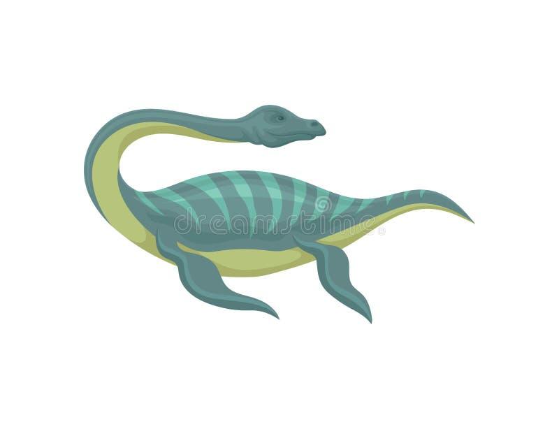 Płaski wektorowy projekt mauisaurus Denny potwór z długą szyją i ogonem Morski zwierzę Prehistoryczna podwodna istota royalty ilustracja