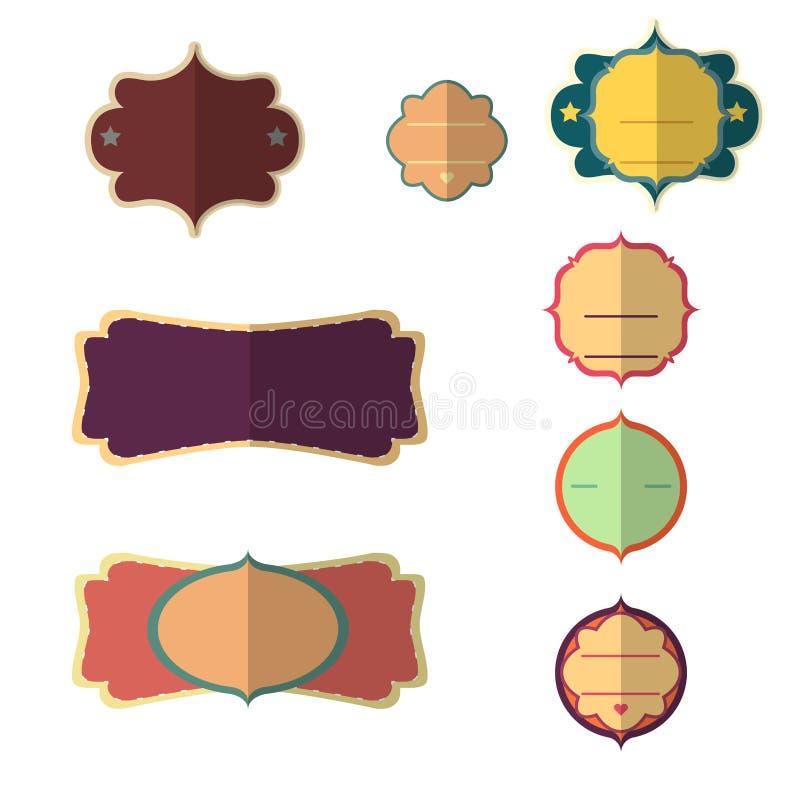 Płaski wektorowy projekt sieci majcherów, etykietek, sztandarów i etykietek kolekcja odizolowywająca na białym tle, royalty ilustracja