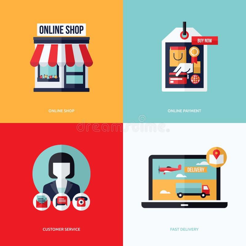 Płaski wektorowy projekt z handlem elektronicznym i online zakupy ikonami royalty ilustracja
